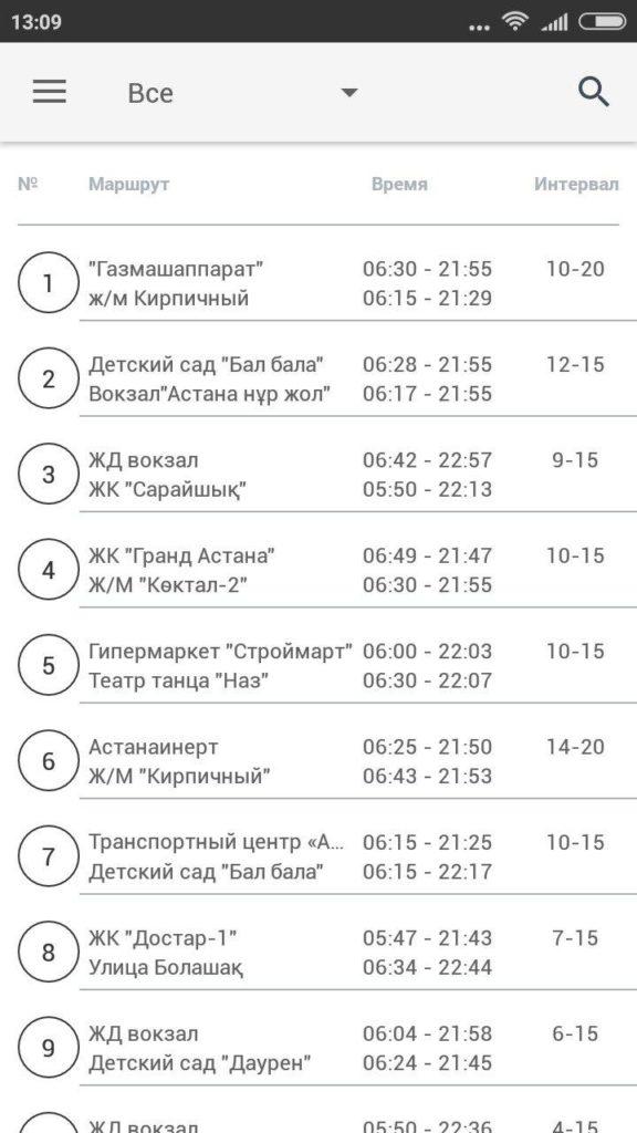Вкладка расписание приложения Astrabus