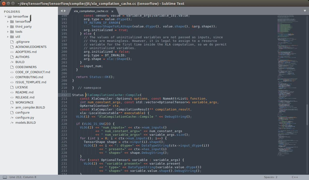Интерфейс Sublime text 3